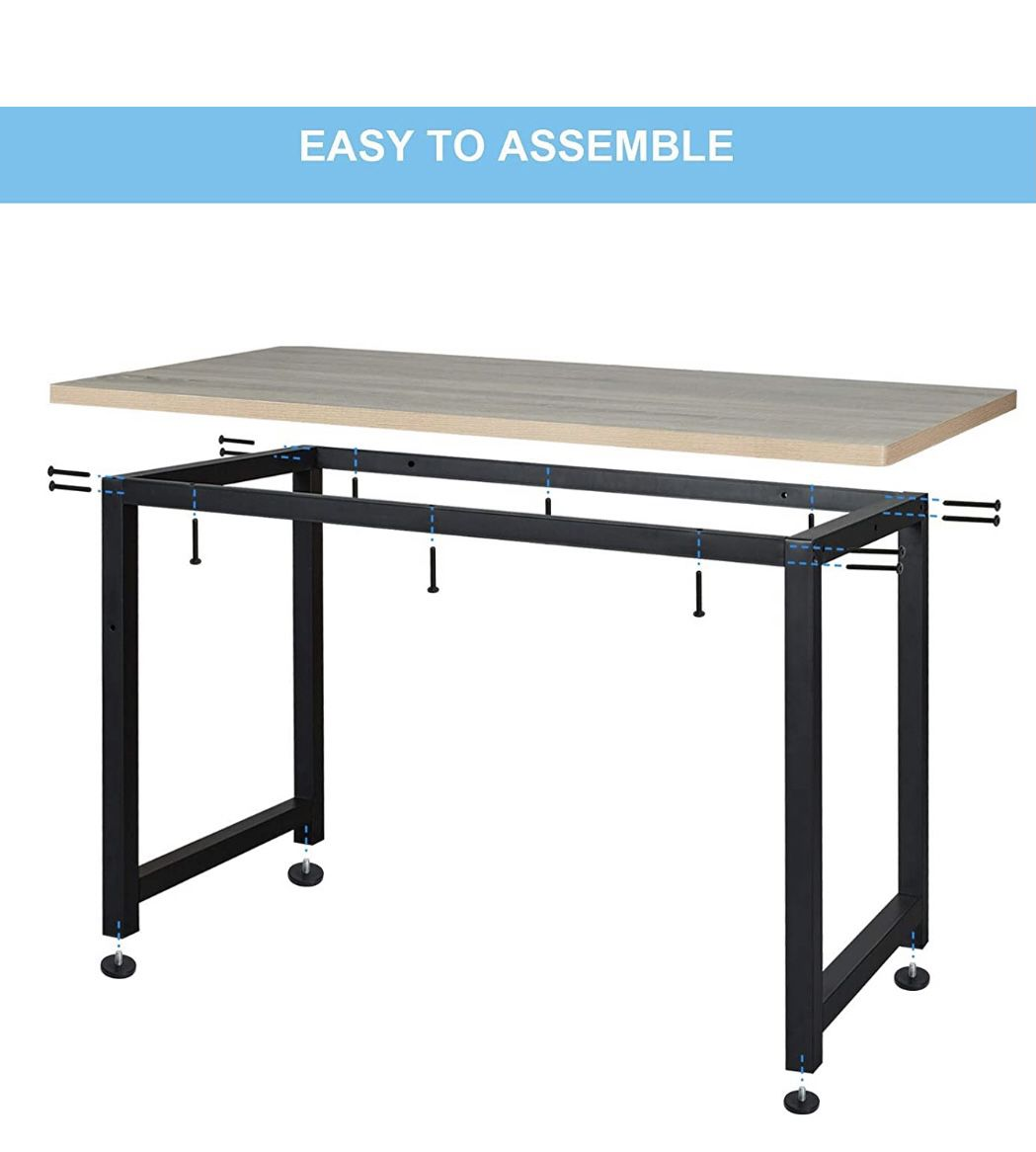 Computer Desk 47 Inch Modern Sturdy Office Desk, Heavy Duty Writing Study Desk for Home Office with Extra Thickened Frame & Strong Legs (Black+White)