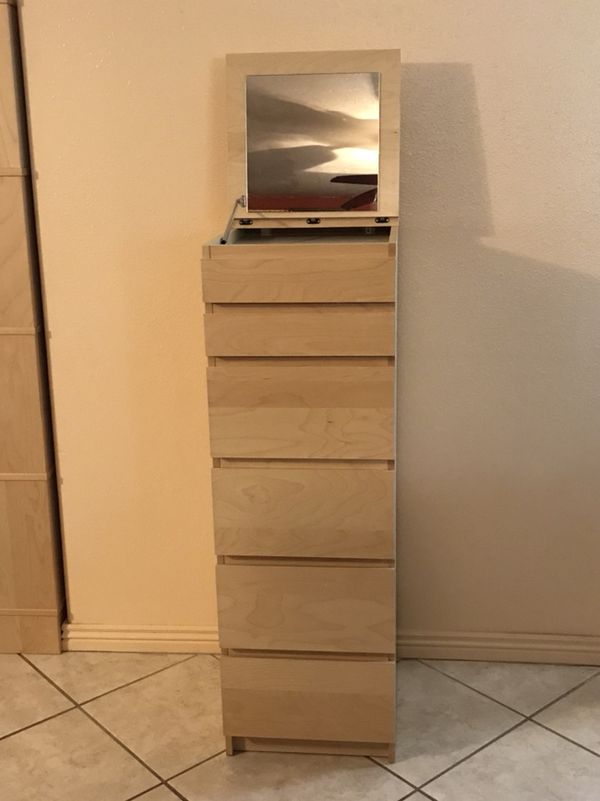 Ikea Malm 6 Drawer Chest Jewelry Cabinet With Flip Up Mirror For