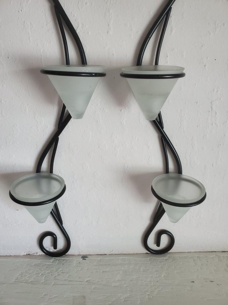 Ornate candle sconce set