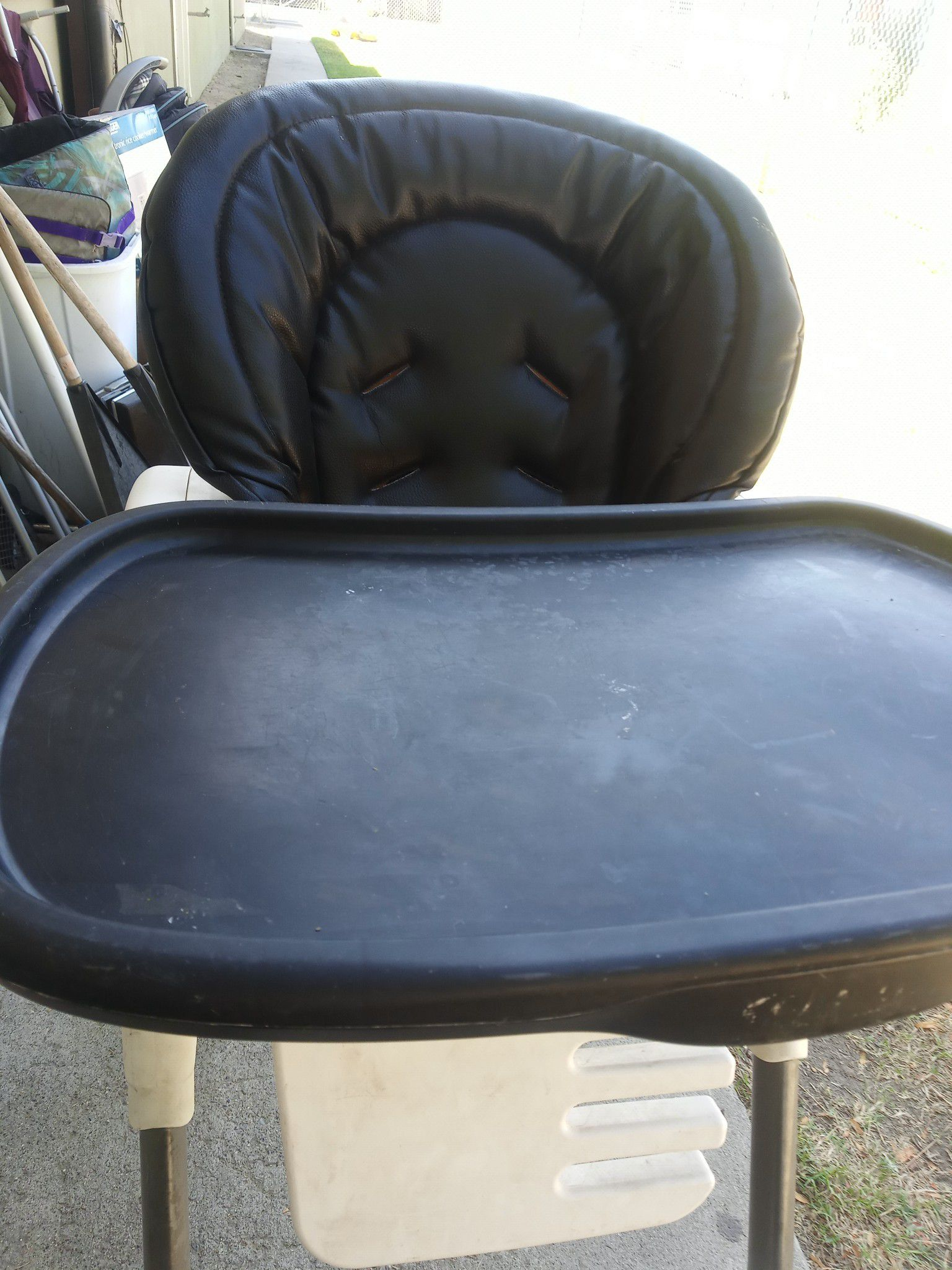 Graco portable black leather high chair