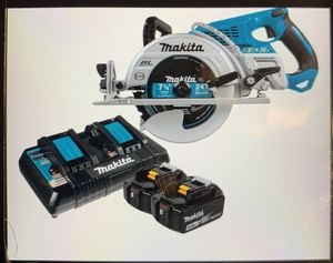 Photo Makita circular Saw w/ blade 18v 18v 36v Wore drive blade 7 1/4 Two Batteries Dual double charger w/USB Complete set New Firm Price