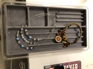Jewelry organizer for a drawer and two beaded necklaces for Sale in Grand Terrace, CA