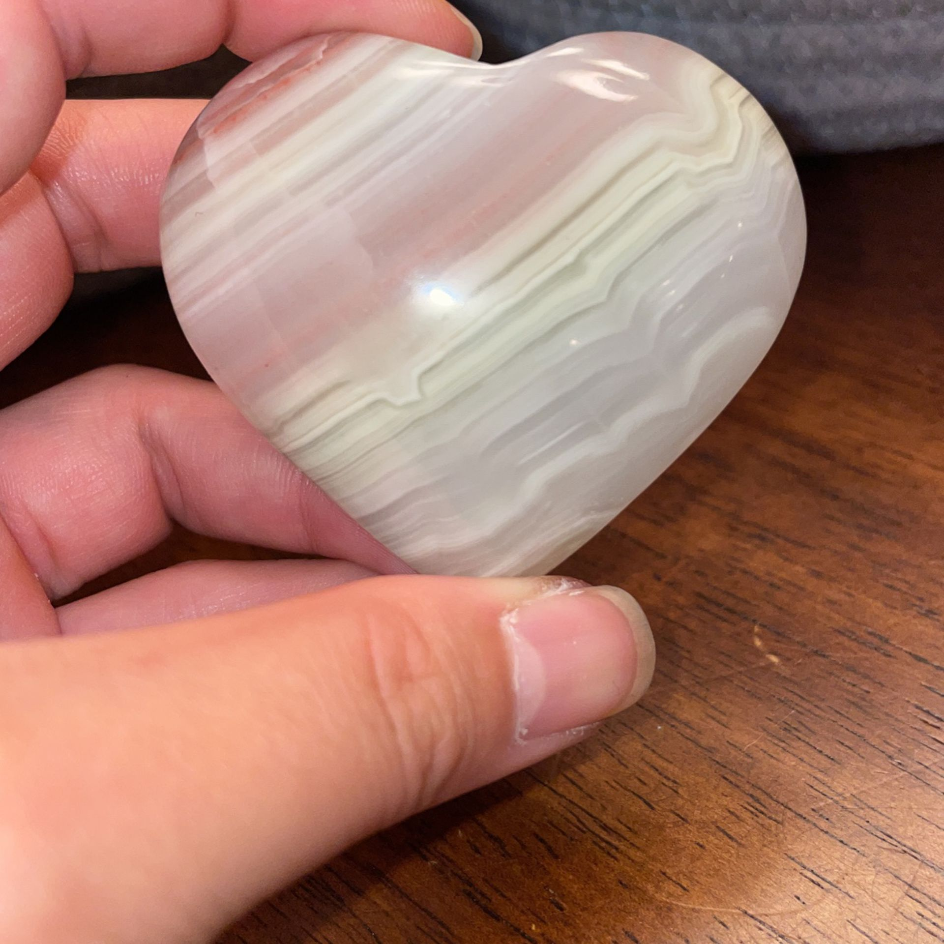 Pink Banded Onyx Heart