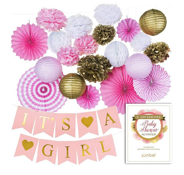 Premium Baby Shower Decorations For Girl Large Pre Strung Banner