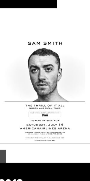Sam Smith Tickets Miami Tonight! Floor 1 Row 2 Seats 1,2 for Sale in Miami, FL