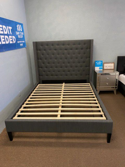 Grey Queen Size Platform Bed Frame