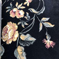 "7'8"" X 10' 2"" Beautiful Black Floral Rug Thumbnail"