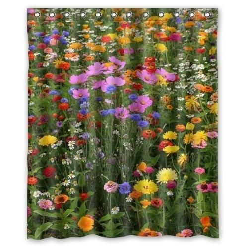 Colorful Flowers Field Shower Curtain Waterproof Polyester Fabric Bathroom Curtain 60x72 inch