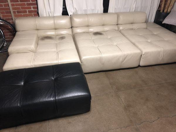 B&B Italia Tufty-Time Leather Sofa - cream and black for Sale in Los ...