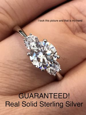 GUARANTEED REAL SOLID 925 STERLING SILVER 2 Ct Brilliant Round Cut Cubic Zirconia Diamond 3 Stone Engagement Promise Wedding Ring Size 9👇 for Sale in Glendale, AZ