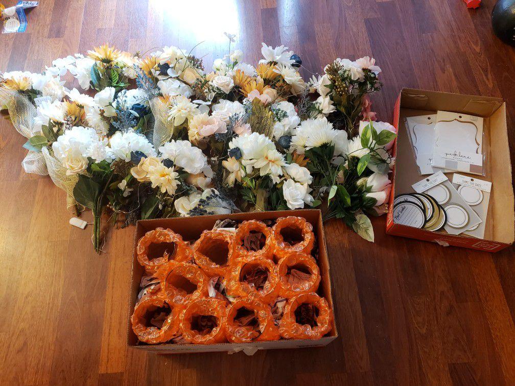 Silk Flowers + 11 Glass Vases