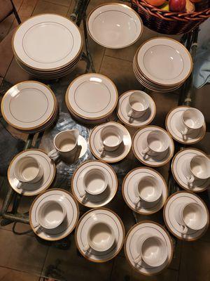 Photo Beautiful Vintage Set of Ciera Fine Dinnerware Coffee/ Tea Cups,saucers, plates, creamer, bowl Made in China Ciera Fine Dinnerware