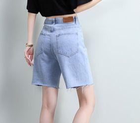 Denim shorts women summer high waist five-point jeans women-BB Thumbnail