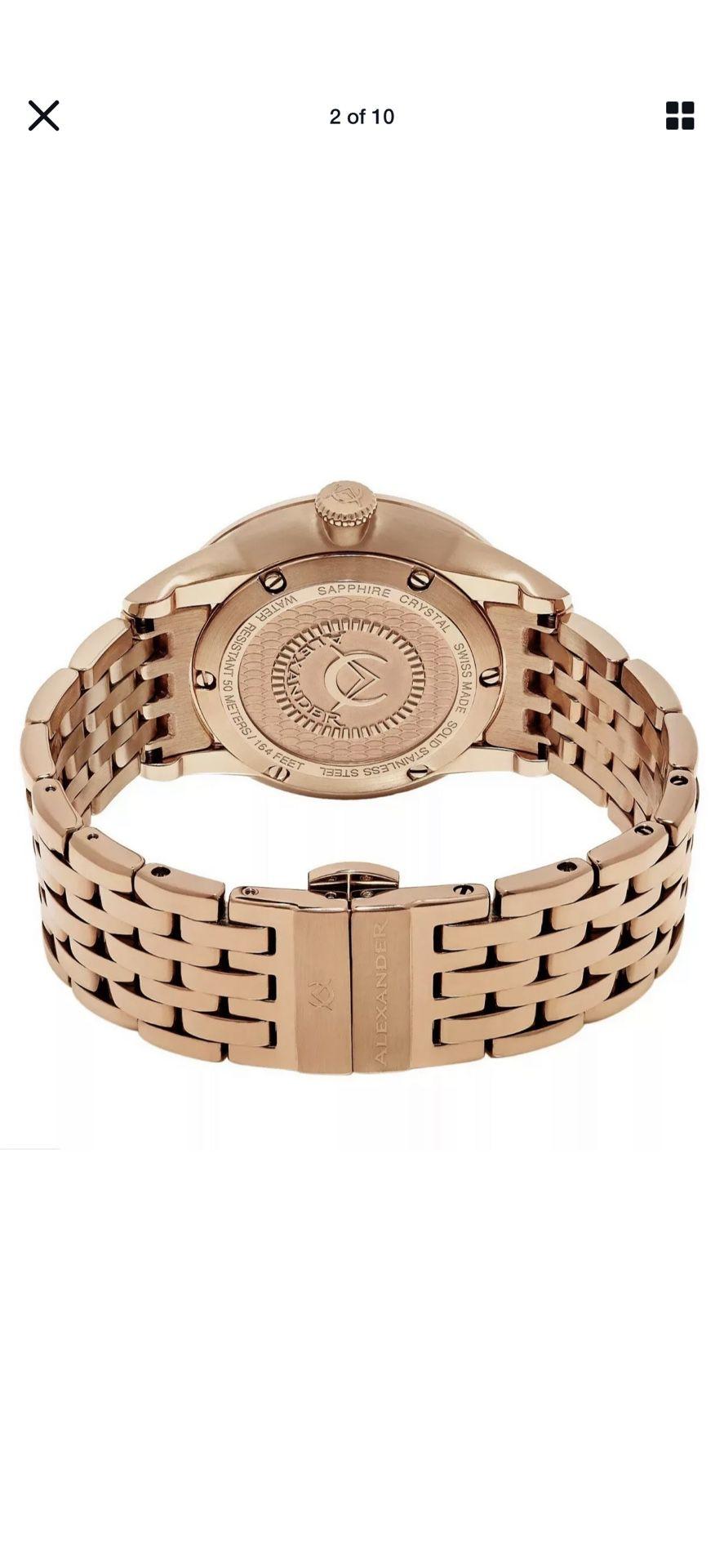 Alexander Men's Rose Gold Stainless Steel Link Bracelet Quartz Watch