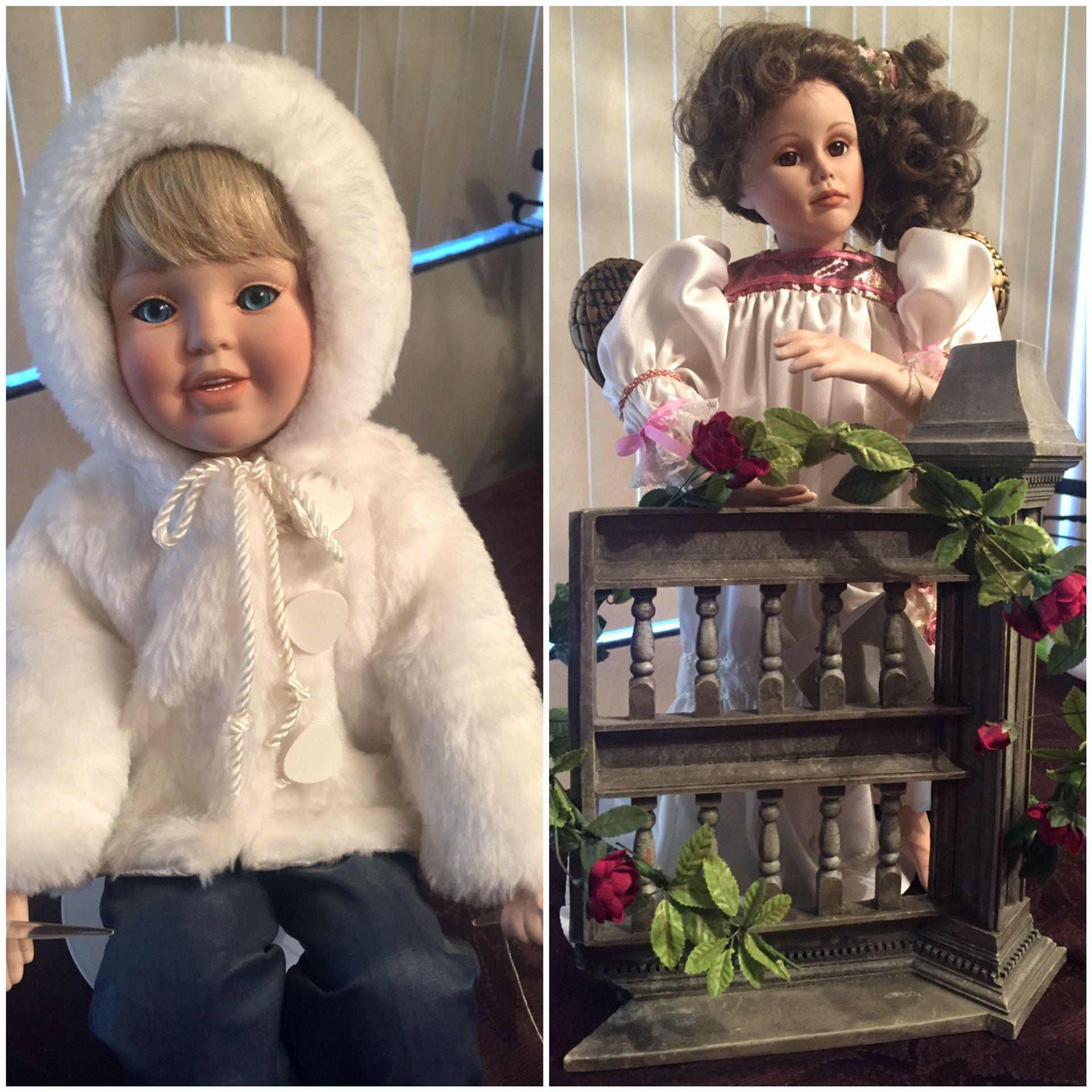 2 vintage Danbury Mint porcelain dolls