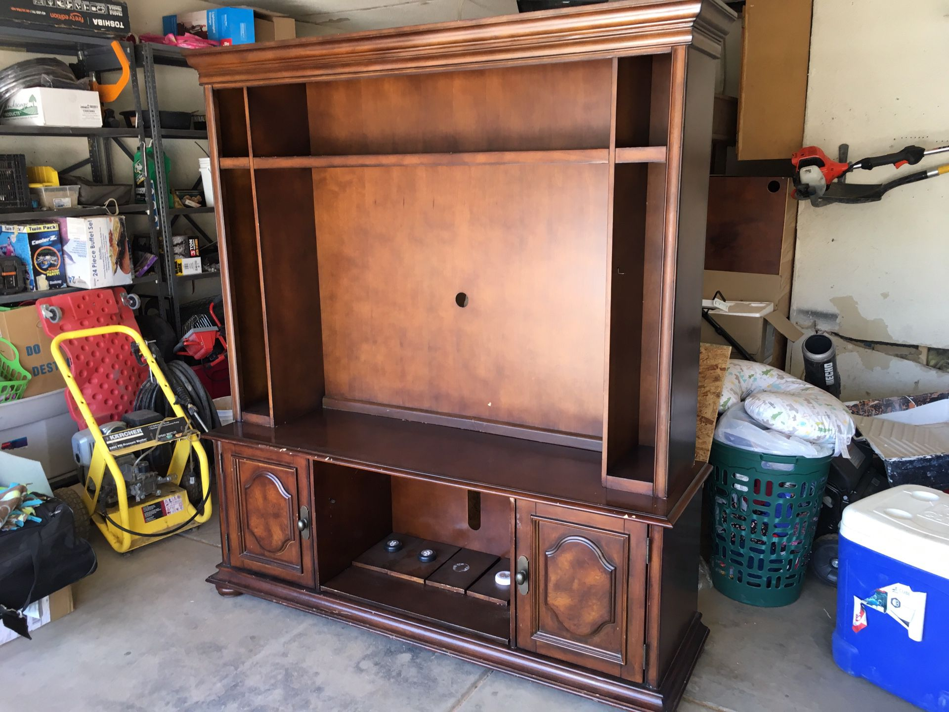 Television stand with cabinets and shelves