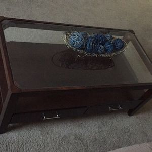 Wood/glass coffee table with 2 deep drawers! for Sale in Richmond, VA