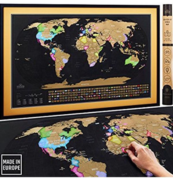 Scratch off map of the world xl poster deluxe extra large 35 x 23 scratch off map of the world xl poster deluxe extra large 35 x 23 premium travel tracker print w country flags us states outlined made in eu for gumiabroncs Choice Image