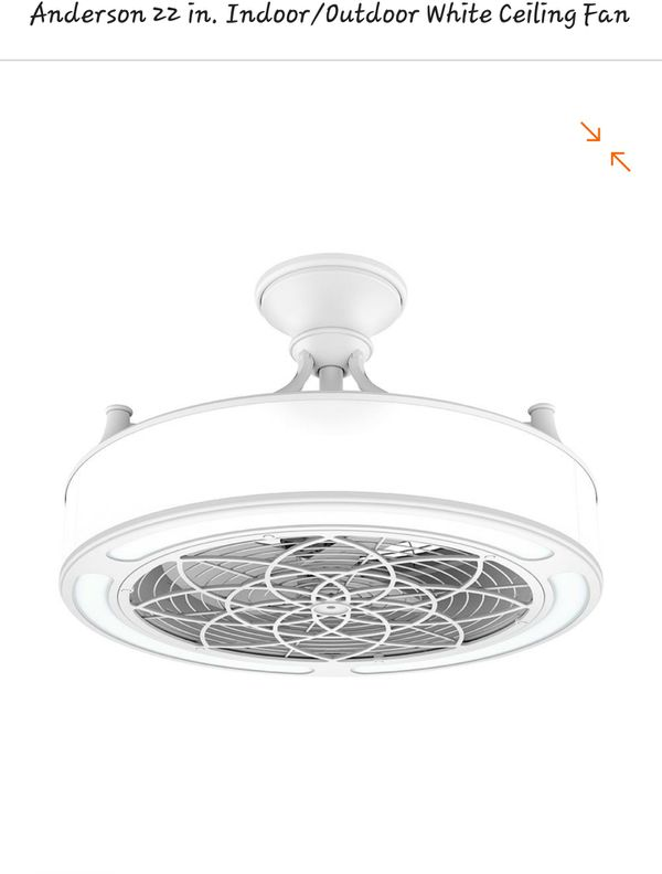 Anderson 22in Indooroutdoor White Ceiling Fan With Light Kit And