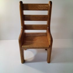 A Oak Doll Chair Made Really Well .     Look At Size.   Thumbnail
