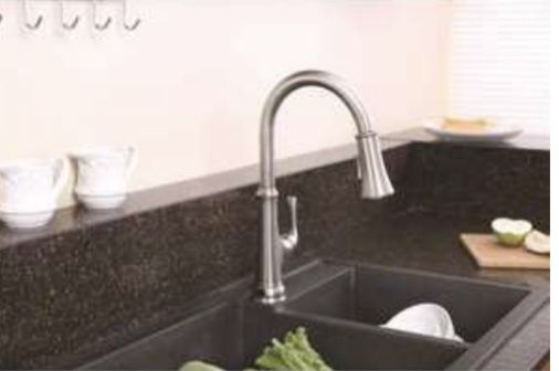 Premier Creswell Single-Handle Pull-Down Sprayer Kitchen Faucet with Touchless Sensor and LED Light in Brushed Nickel