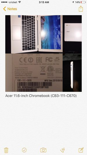 Acer 11.6‑inch Chromebook (CB3‑111‑C670) for Sale in Cleveland, OH