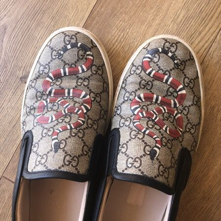 4a7f644589ffd Gucci Kingsnake GG print slip-on shoes for Sale in Lake Oswego