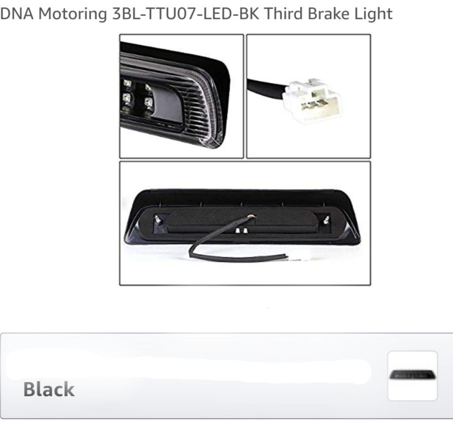 07-18 Toyota Tundra 3D LED Bar 3rd Third Brake Light Rear Cargo Lamp (Black / Smoked