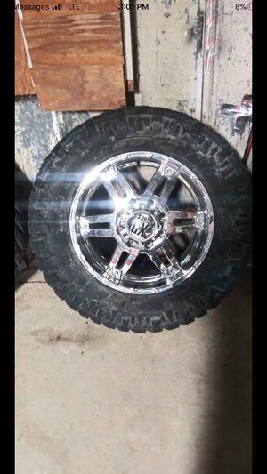 """Photo Complete set of 20""""x10"""" XD chrome rims & 35x12.5x20""""Nitto tires"""