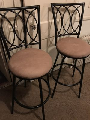 Set of two barstools black metal with tan seats, Very very clean 43 inches tall and 29 inches from floor to seat for Sale in Washington, DC