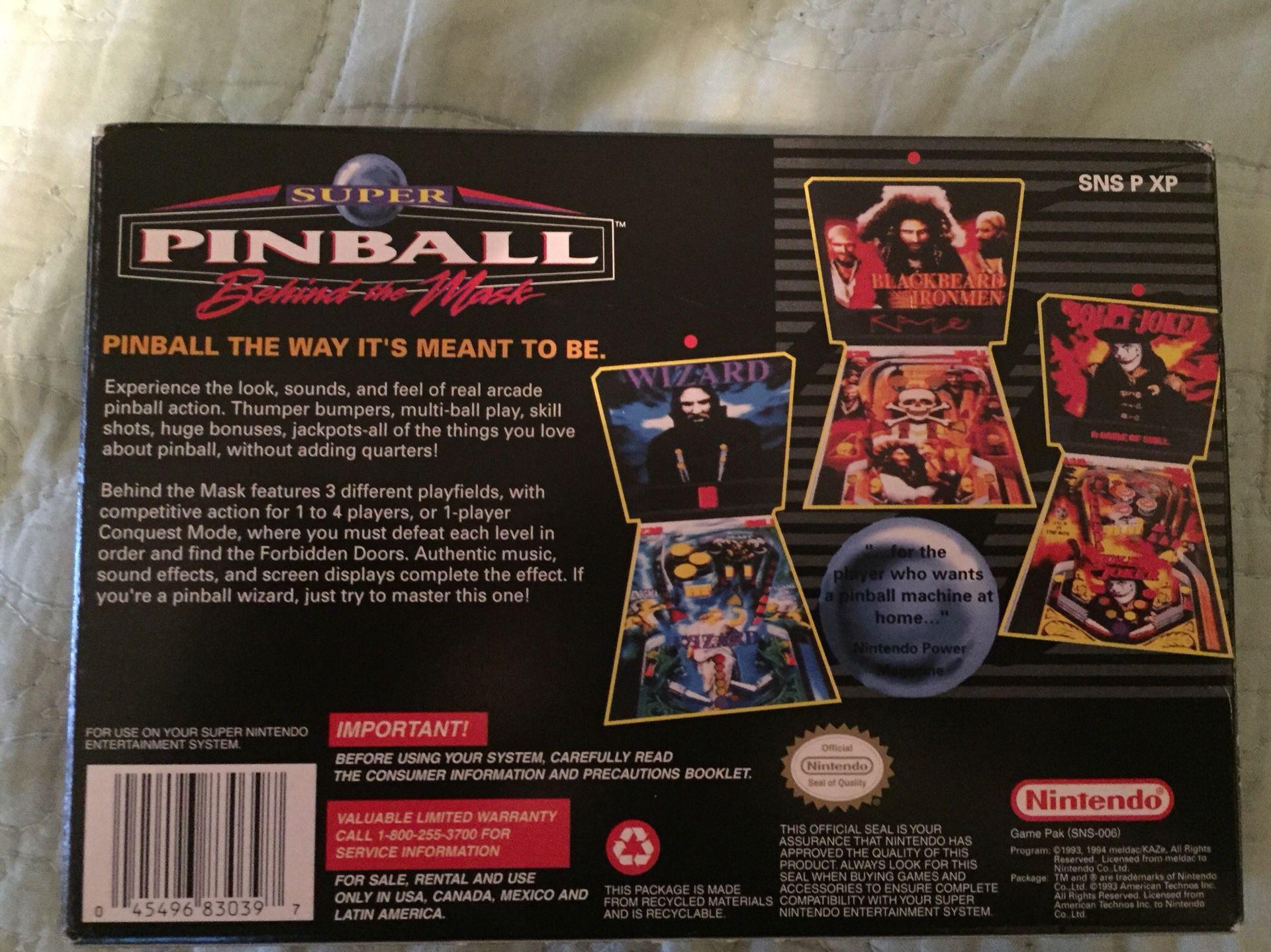 SNES Super Pinball Behind the Mask CIB