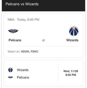 Wizards tickets. Wizards vs. Pelicans for Sale in Oakton, VA