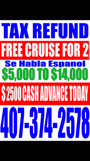 Tax refund free cruise for Sale in Orlando, FL