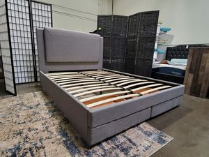 Photo Queen Size Bed Frame with 2 Drawers
