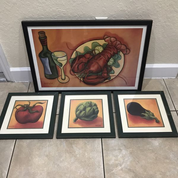 Kitchen Wall Art In Aged Frames