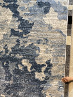 8x10 Area Rugs Carpet Rugs Modern Abstract Design Super Thick Tight Pile Colors Gray Blue Beige  Thumbnail