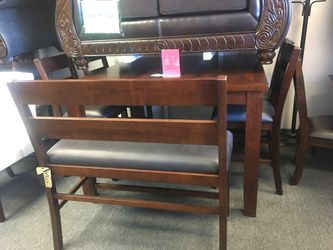 Solid wood dining set used as display Thumbnail