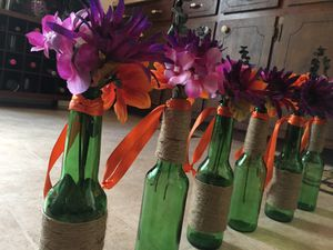 Decorative bottles. These can hang from shepherd's hooks. Used in my wedding. for Sale in Phenix, VA