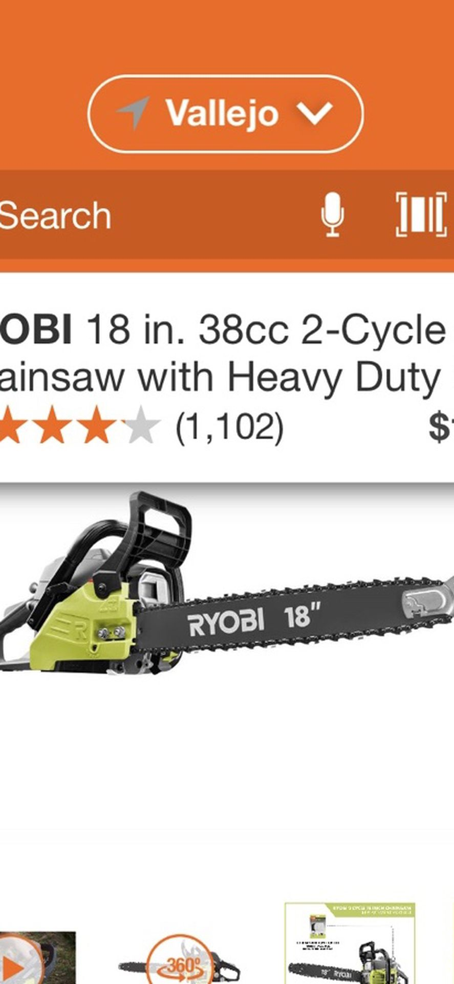 RYOBI 18 INCHES CHAINSAW 2 CICLE GAS WITH HEAVY DUTY CASE BRAND NEW