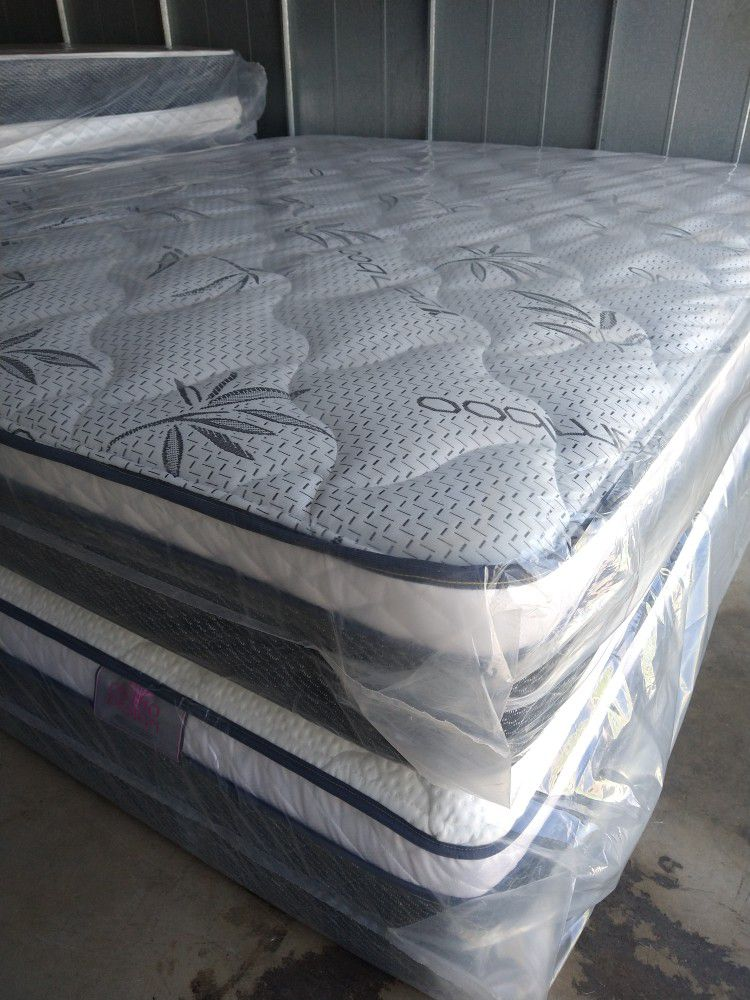 """Caliking Set Mattress 12""""Thick Pillow Top Orthopedic Brand New With Box Spring"""