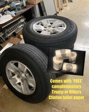 """Photo (4)17"""" Chevy 6 lug stocks/tread low $425 today no holds little curb rash on 2"""