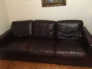 3 Seated Waxed Leather Couch With Queen Sized Sofa Bed For In Richmond