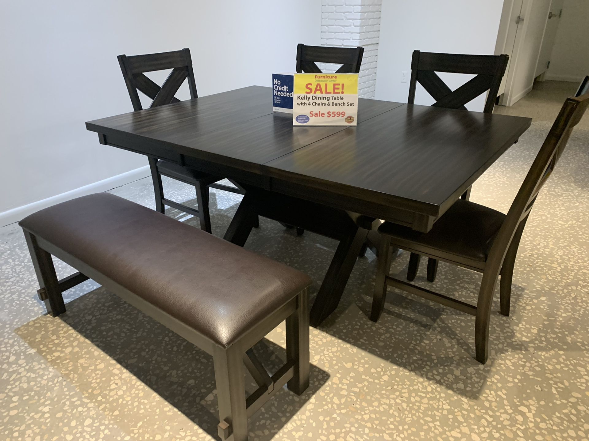 Kelly dining table with 4 chairs and bench, IN STOCK, SAME DAY DELIVERY, LOWEST PRICES IN FLORIDA ONLY $599