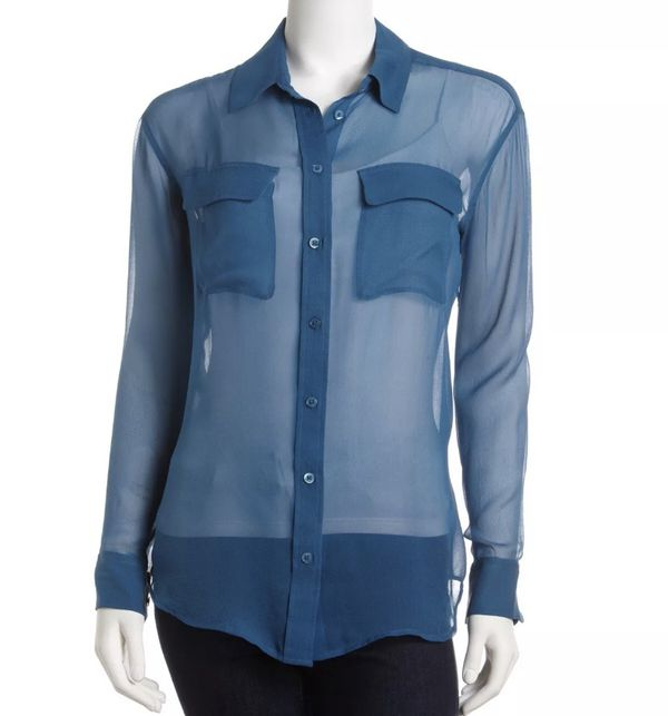 40d030d1 EQUIPMENT Femme Women's Semi Sheer Silk Signature Chiffon Blue Blouse Size S