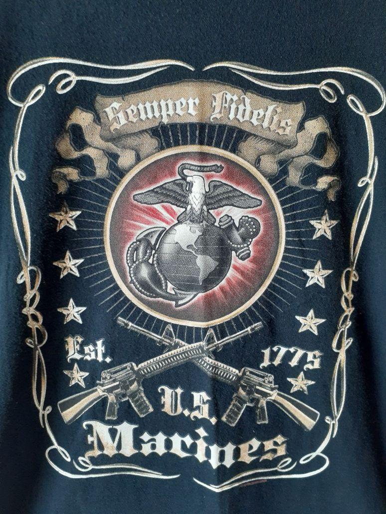 Fruit of the Loom US Marines men's black long sleeve t-shirt size L