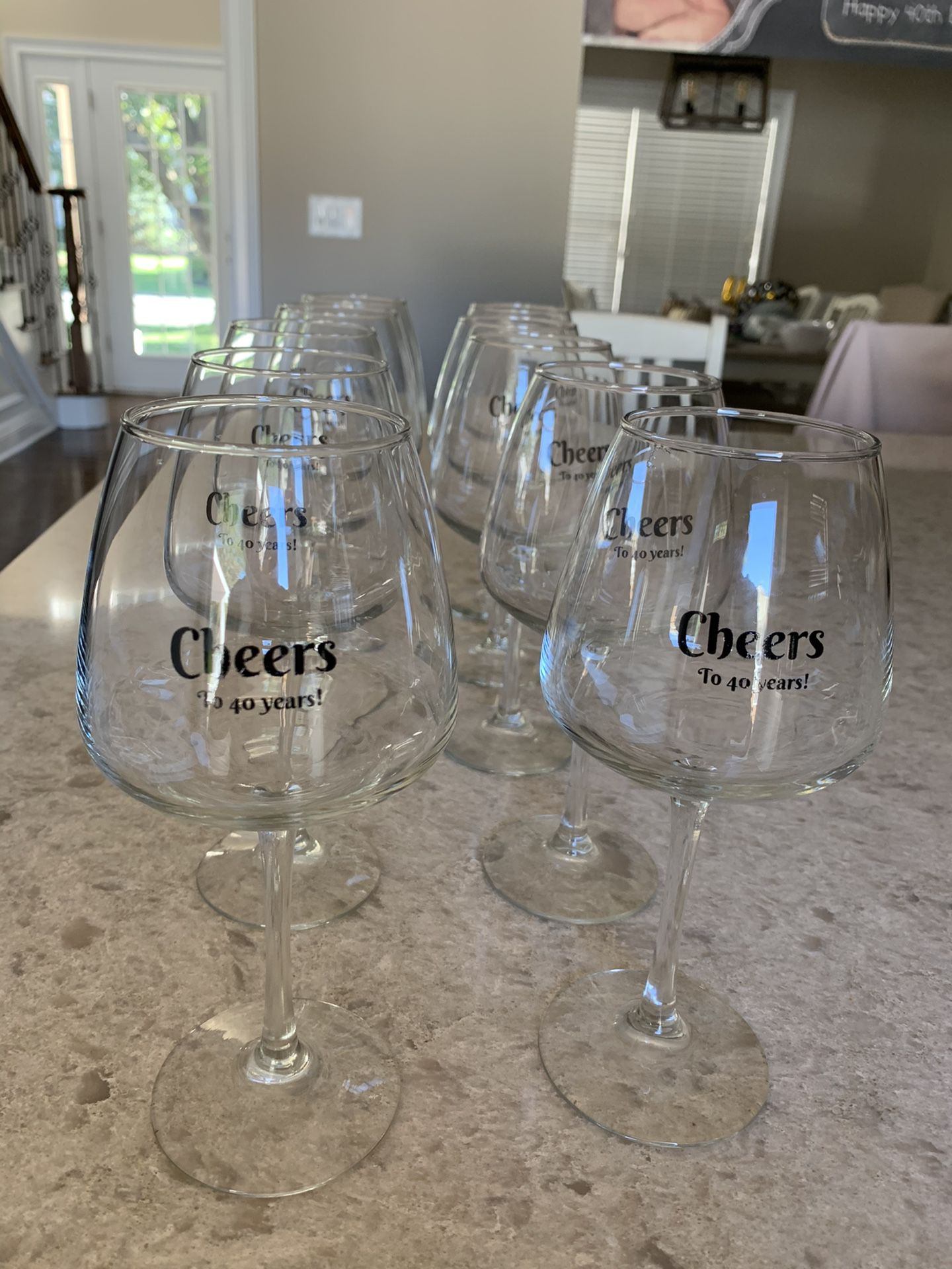 10 40th birthday wine glasses