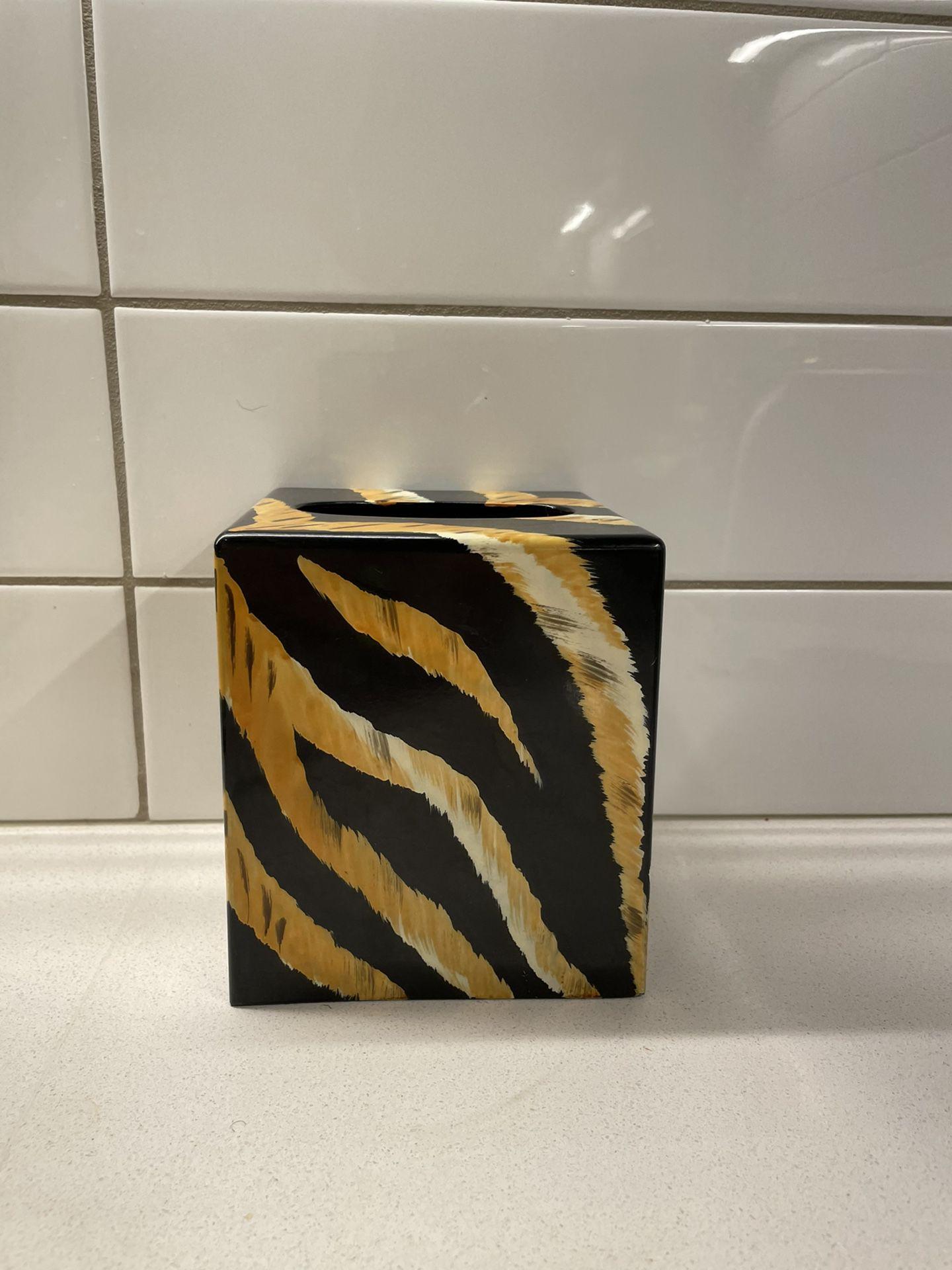 Tiger Print Tissue Box/Decor/Vase