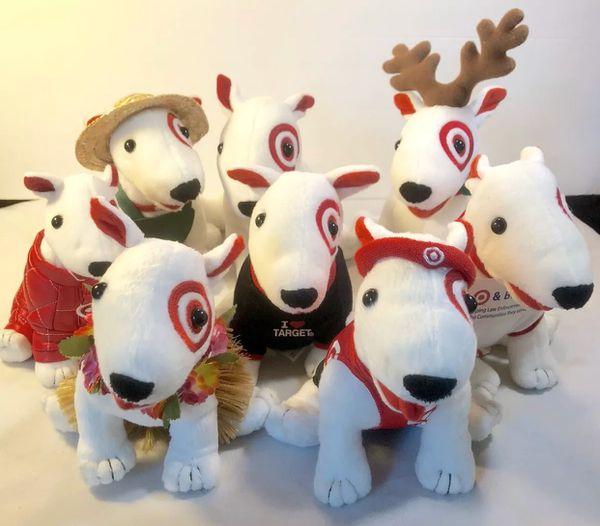 Lot Of 8 Target Bullseye Dog Plush Stuffed Animals Rare Set See