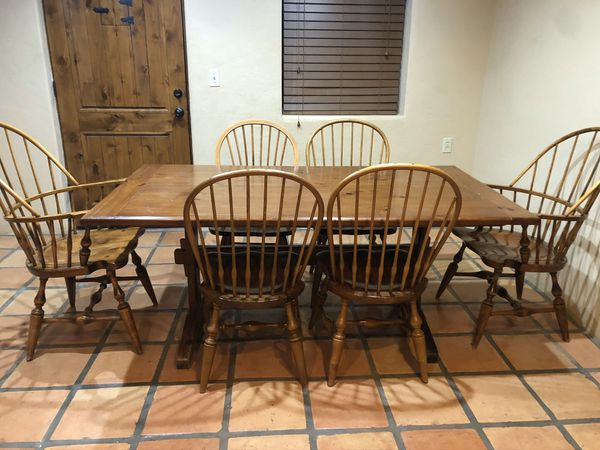 Solid wood Dining room table with chairs for Sale in ...