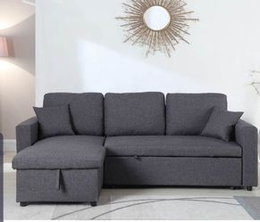 Grey sectional sofa pull out bed & storage chaise Thumbnail